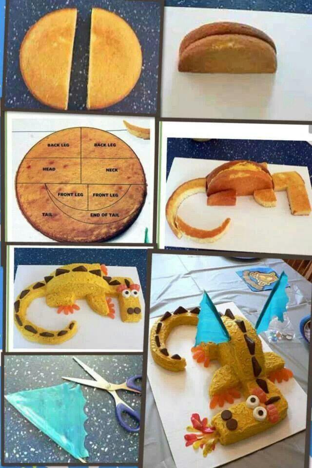 Dragon cake / drakentaart jongens taart gepind door www.hierishetfeest.com