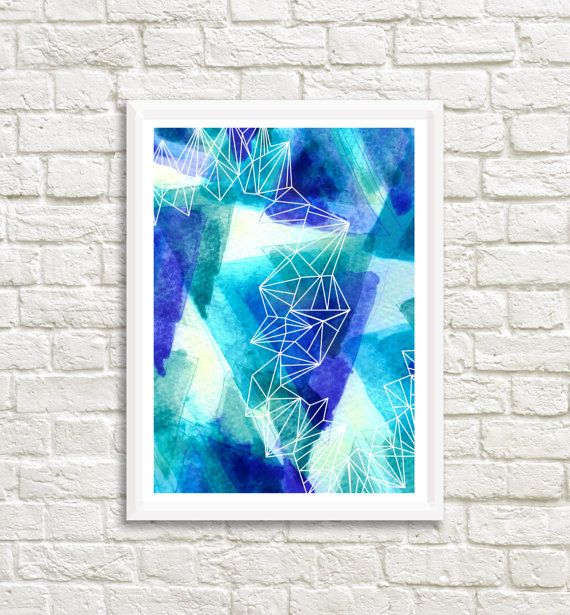 Original Blue Triangles Watercolor 25 x 35 by LittleLotusFlowers