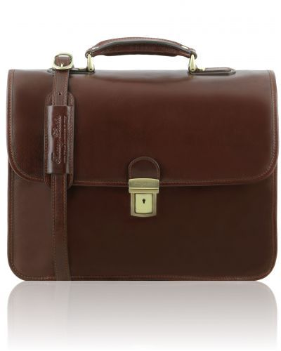 VERNAZZA TL141354 Leather briefcase with Laptop compartment 3 compartments