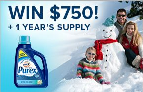 WIN $750 and a year's supply of laundry detergent from Purex Canada in the Season's Cleanings Contest!