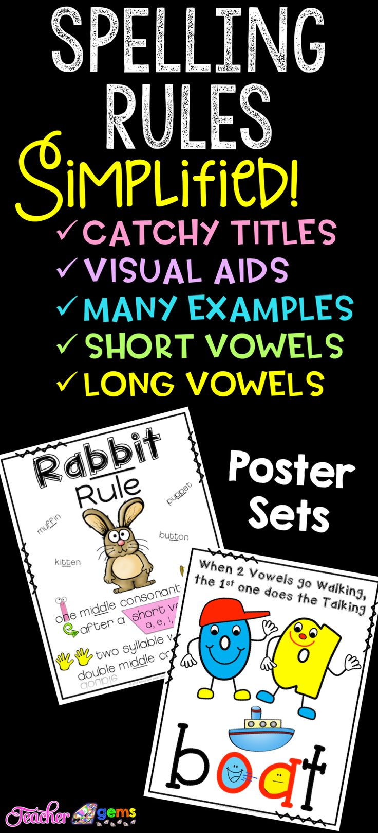 Did you know there are over a dozen spellings for the long 'a' vowel sound alone? Help your students learn about the different spelling rules in the English language with these spelling rules made easy poster sets! #TeacherGems