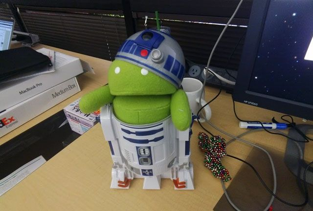 Jenny Murphy from Google posted an picture of a real Android version of R2D2.  Well, really - she stuffed her Android toy into her R2D2 toy.  Yea, Googlers have Android & R2D2 toys readily available.
