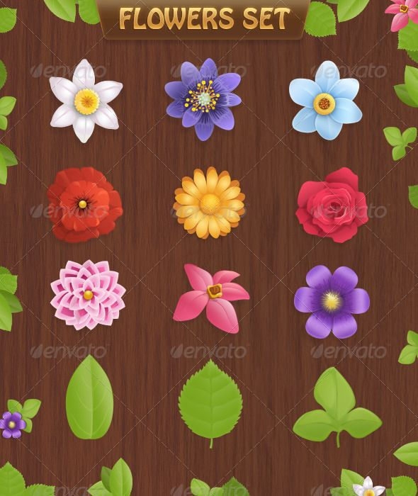 Flowers set  #GraphicRiver         PSD file includes 9 beautiful flowers and 3 type of leaves (each ).  	 All elements in vector shapes. Any of them is editable and changeable.     Created: 16February12 GraphicsFilesIncluded: PhotoshopPSD Layered: No MinimumAdobeCSVersion: CS2 PixelDimensions: 590x700 Tags: cartoon #chamomile #decor #flora #flowers #foliage #garden #grass #green #isolated #leaf #leaves #nature #petal #pink #plants #poppy #red #rose #spring #valentinesday #vector #violet…