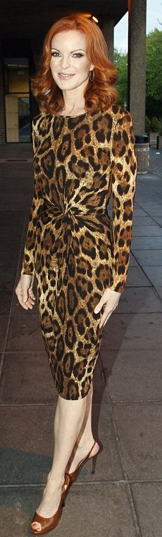 An example of animal print not overdone - and worn by someone who can do the colors - simple shoes, limited accessories.