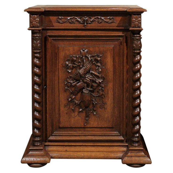 Jacobean Style Mid-Century French Confiturier | From a unique collection of antique and modern cabinets at https://www.1stdibs.com/furniture/storage-case-pieces/cabinets/