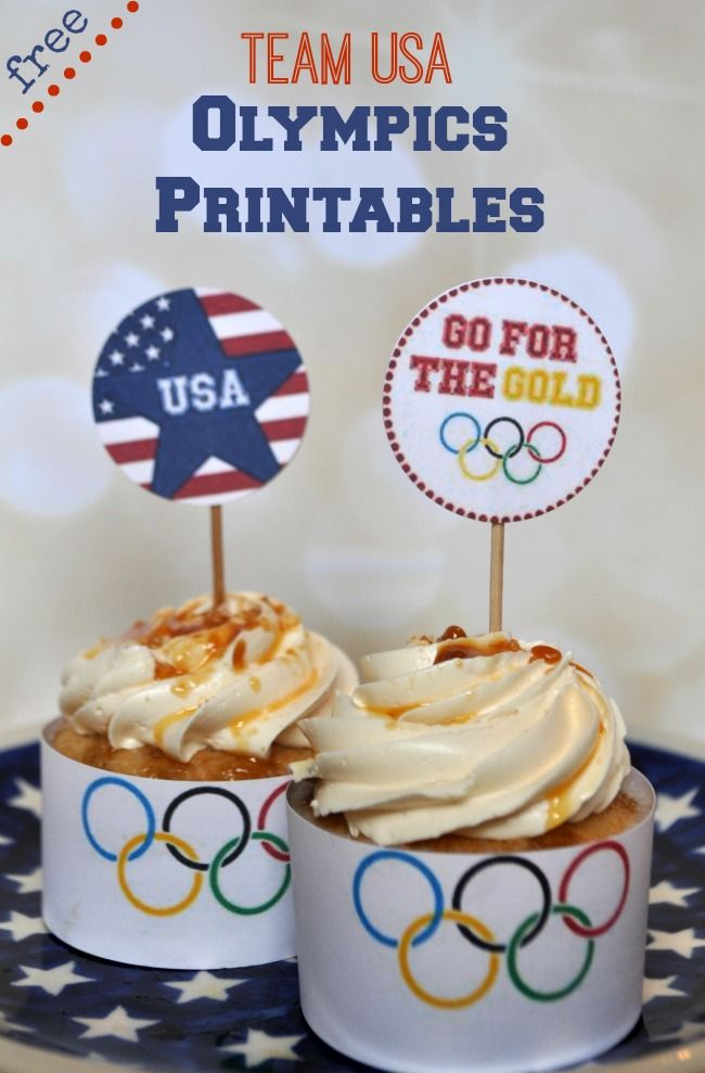 Free Team USA Olympics Printables: cupcake toppers, wrappers and medal count