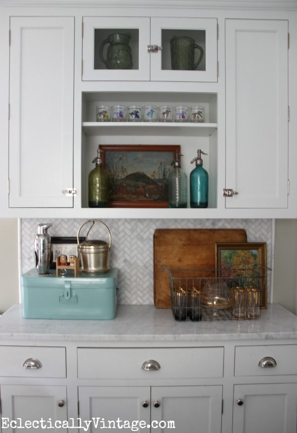Fun kitchen display for fall and love the blue metal box from HomeGoods for storage eclecticallyvintage.com #HomeGoodsHappy HappyByDesign #sponsored