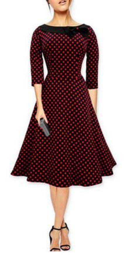 Sweet Vintage Style Women's Slash Neck Polka Dot Print Bowknot Design 3/4 Sleeve Dress (not red dots though, mint green! )