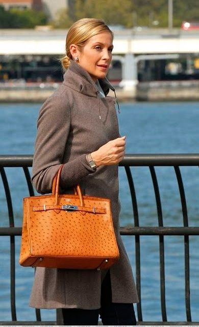 Kelly Rutherford\u0026#39;s Hermes 35cm Cognac Ostrich Birkin Bag with ...