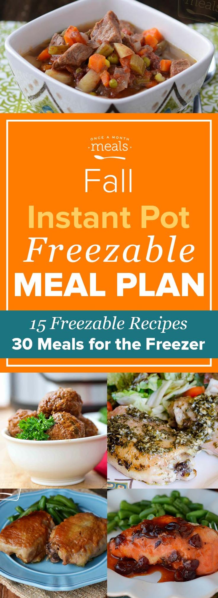 From enchiladas with pumpkin cream sauce to cranberry chicken, these instant pot freezer meal recipes make easy, comforting meals you can cook from frozen! via @onceamonthmeals