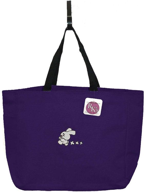 Running Bunny Jogging Rabbit Easter Bag by RKEmbroideryBoutique