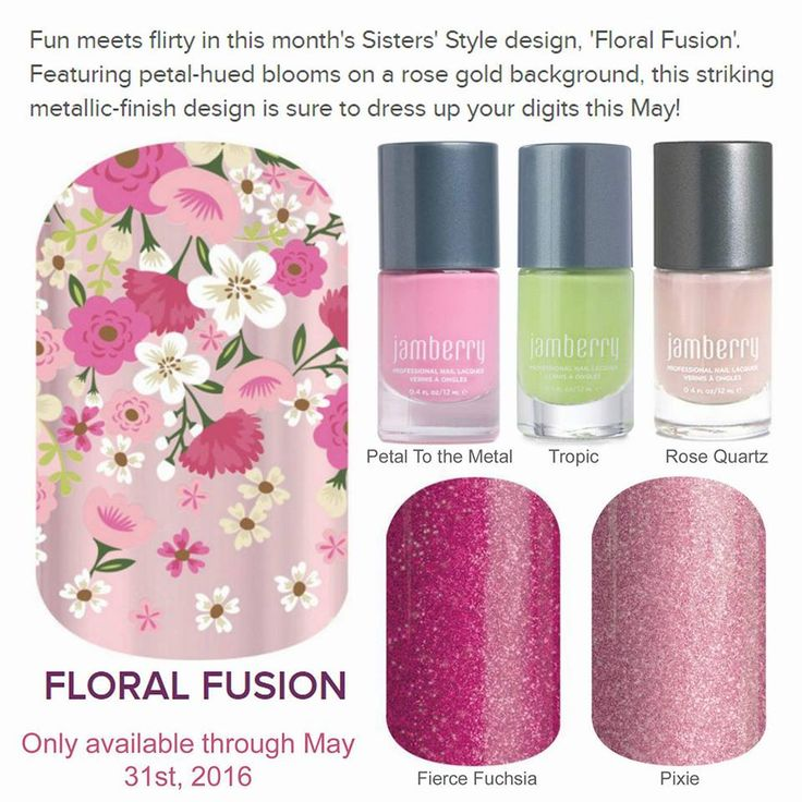 Floral Fusion Jamberry Nail Wrap pairing ideas. Pixie Jamberry Nail Wrap, Fierce Fushia Nail Wrap, 5 Free Lacquer