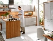 Brown cucine wooden kitchen furniture-love how the fridge disappears