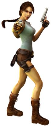 A computer generated image of a brown haired woman whose body faces to the right while her head is turned towards the reader. She wears a turquoise top, light brown shorts, and calf-high boots. The woman holds guns in both hands, with the right hand pointed towards the reader