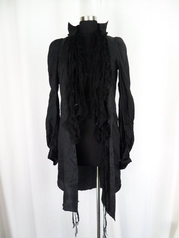 RESERVED-90s rare and one of a kind Japanese If Six Was Nine tunic blouse/ deconstructed torn silk/safety pins :one size