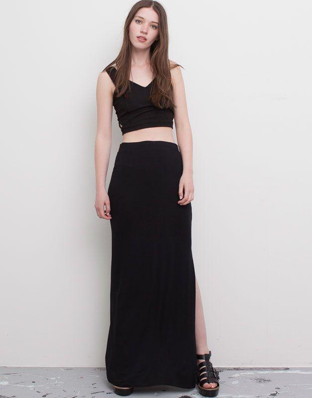 Pull&Bear - woman - skirts - long black skirt - black - 09398310-I2015