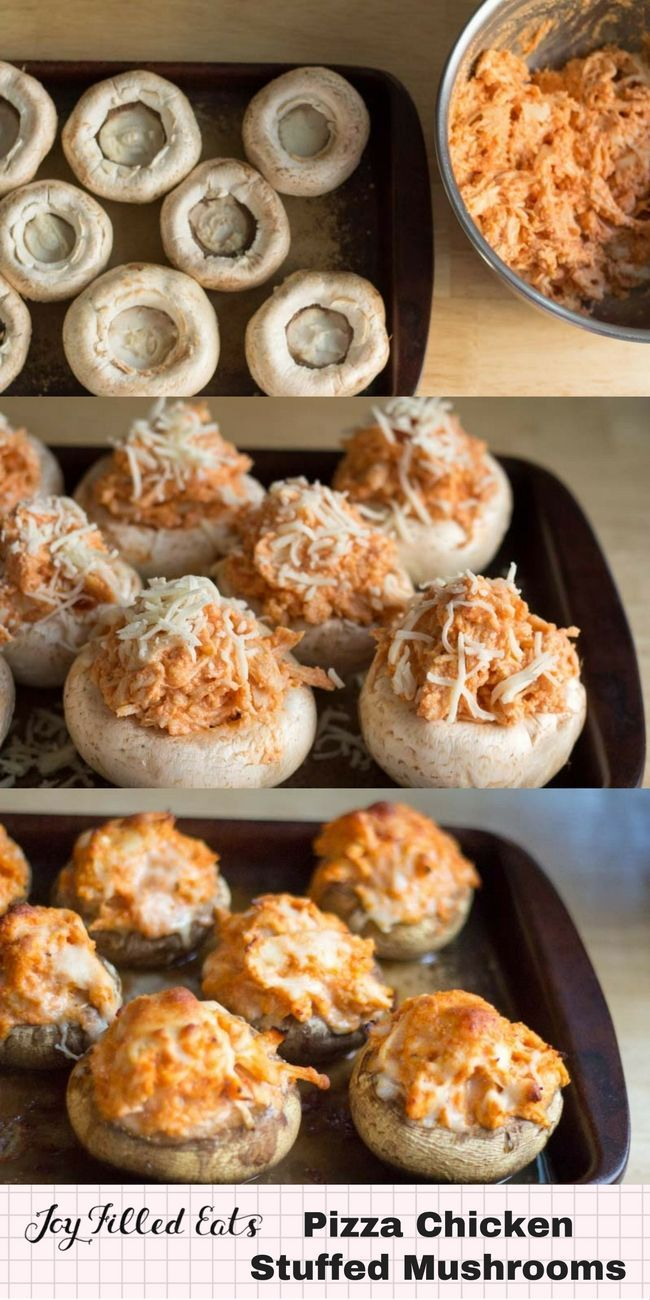 Pizza Chicken Stuffed Mushrooms - Low Carb Grain Free THM S These Pizza Chicken Stuffed Mushrooms saved dinner. With gigantic mushrooms to use, shredded chicken, & a pizza craving I combined all three.  via @joyfilledeats