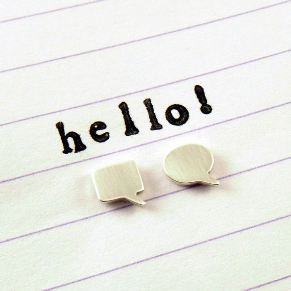 Speech Bubble Studs / Fun Mismatched Earrings / Simple & Modern Everyday Studs - by gogingin on madeit