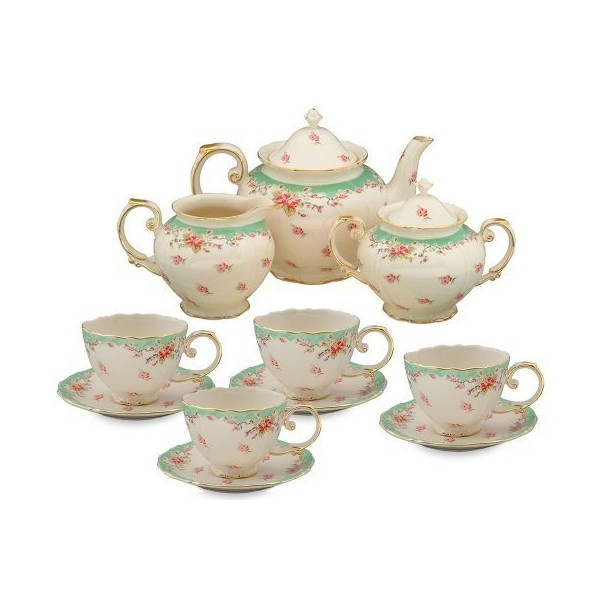 gracie china vintage green rose porcelain 11 piece tea set found on polyvore tea party for my. Black Bedroom Furniture Sets. Home Design Ideas