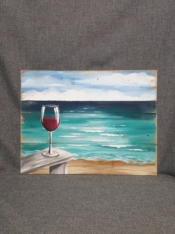 Pallet Wood Beach Red Wine, Painting, Wood Painting, Ocean Wall Art Pallet, Beach Chair, Handmade Landscape, Horizon, Ocean, Distressed
