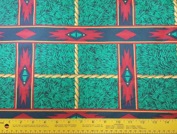 SOLD by the half yard, CUT as continuous yardage - Western Christmas Fabric, Rope, Ponderosa Plaid, Christmas Carrol Collection by Daisy Kingdom, 1993, Out of Print, Quilting Fabric, OOP  A cute Western Christmasy Print with Southwestern style designs. This is new (unused) soft, smooth 100% cotton apparel/quilting weight fabric. Perfect for apparel, quilting, table linens, home textiles, and craft projects. Care: Machine Wash Cold. Dry Low. SIZE & QUANTITY: Priced and sold by the qua...