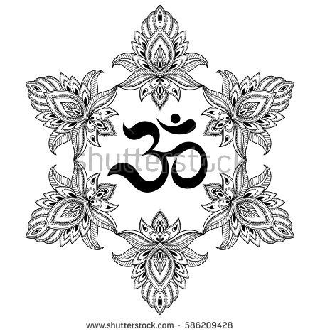 Vector henna tatoo mandala. OM decorative symbol. Mehndi style. Decorative pattern in oriental style. Coloring book page.