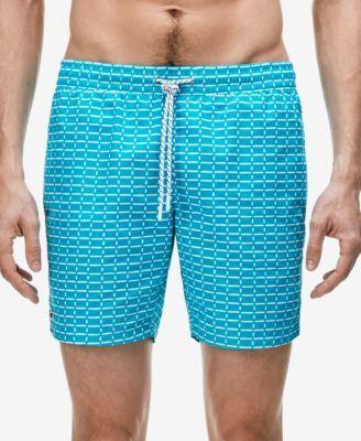 LACOSTE Lacoste Men'S Drawstring Brick-Pattern Swim Trunks. #lacoste #cloth # swimwear