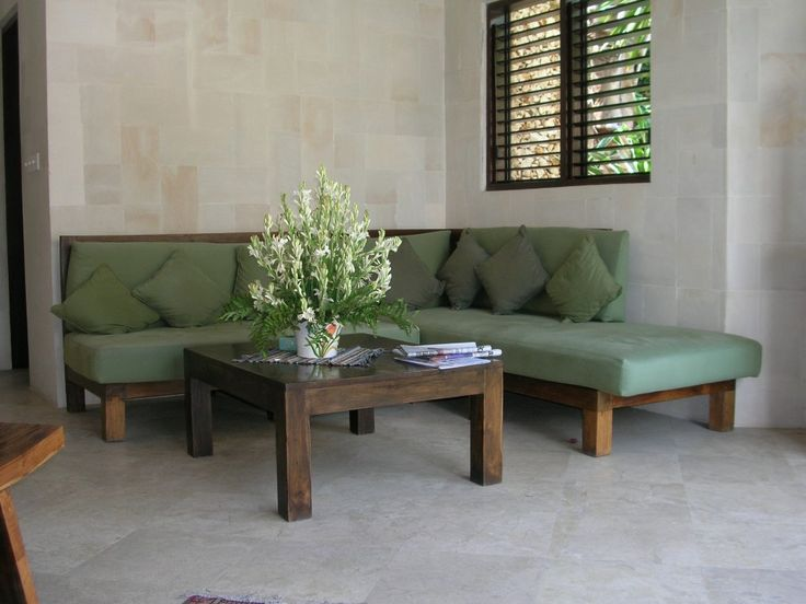 CONTEMPORARY Living-Room by Canela Bali. Contemporary living-room set with light green covers fully detachable to facilitate the washing. Get yours on https://www.canelabali.com/