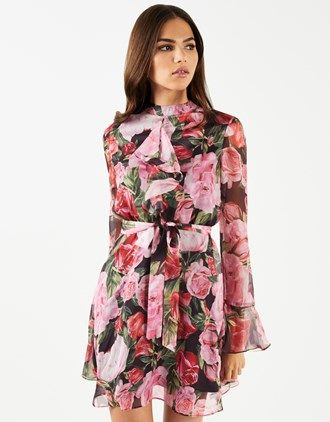2ab07d7cb2e Lipsy Floral Printed High Neck Ruffle Dress