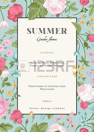 Estate verticale vettore carta d'epoca con giardino fiori colorati Roses, ti scordar di me, delphinium su sfondo menta template Design photo