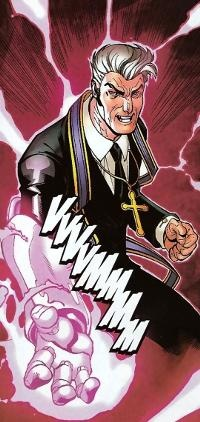 "Reverend William Stryker (William Stryker) (Human/Empowered) (Phoenix, Arizona) Reverend, Christian Fundamentalist Televangelist, Terrorist, Mass Murderer; former; U.S. Army Sergeant. Intellectual. Rich. Leadership. Stealth. Skilled unarmed combatant, weaponry user. Robotic arm from Nimrod, has an implant capable of blocking low level telepathy. 5' 11"" tall."