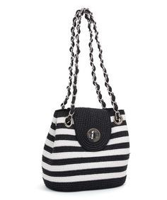 Another great find on #zulily! White & Black Stripe Shoulder Bag by Magid #zulilyfinds