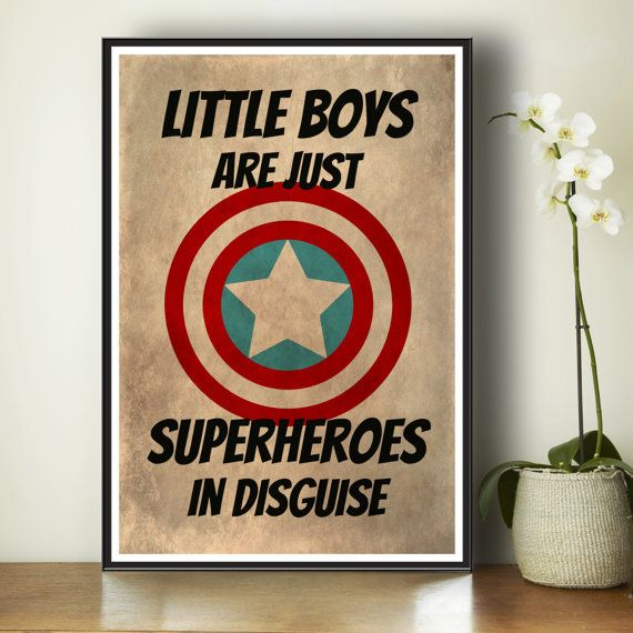Superhero Kids Poster - Marvel Comics - Gift For Boys - Kids Art Print - Superhero Art Print - Bedroom Decor - Captain America - Superheroes...