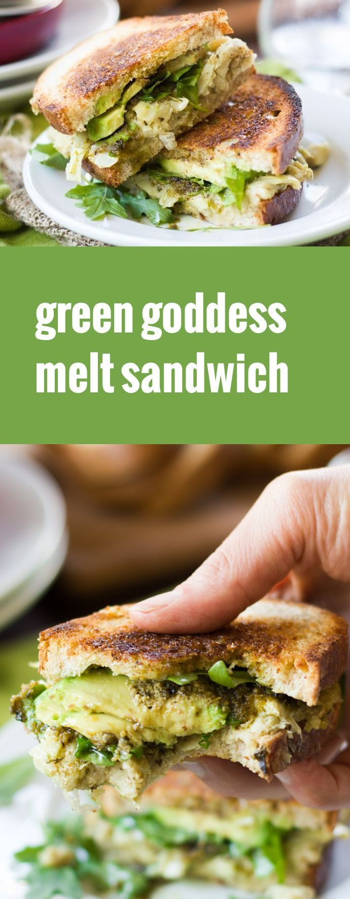White beans, artichoke hearts, avocado and pesto are stuffed between bread slices and grilled to create these vegan green goddess melt sandwiches.