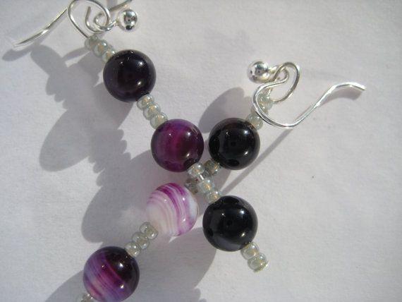 Dangle Purple Agate Gemstone Earrings  Drop by KBrownJewellery, £14.00