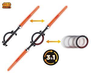 Le sabre laser des seigneurs Siths. Il comprend une double lame.