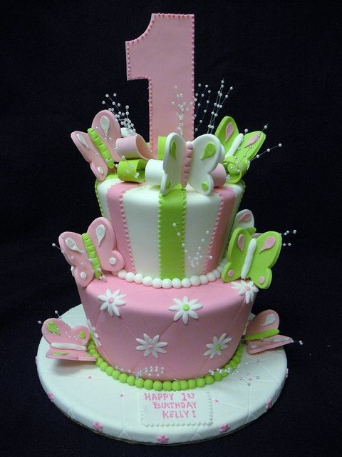 What a cute idea for girl birthday or change the colors and figures for a boy....love this cake!!