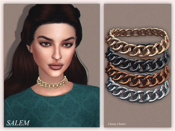The Sims Resource: Chainy Choker by Salem C. • Sims 4 Downloads