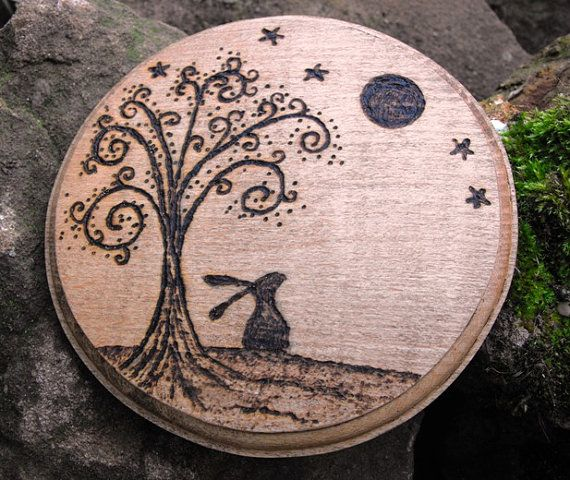 Wooden hand pyrographed Moon Gazing Hare plaque - bluelunahare on Etsy, $20.00