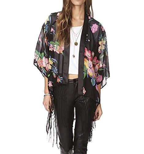 Dreagal Women Floral Tile Print Loose Oversized Chiffon Kimono Coat One Size. Material: Chiffon. Color: Mixed Color, as photo shown. Style: Sexy & Elegant best match for bikini or any summer dress and shorts. These Cover Ups are colorful, will go perfect with your bikini and swimwear. Great value, affordable and highly recommend. One size fits most.Bust: 92-120cm/36-47in, Length: 75cm/29.26in.