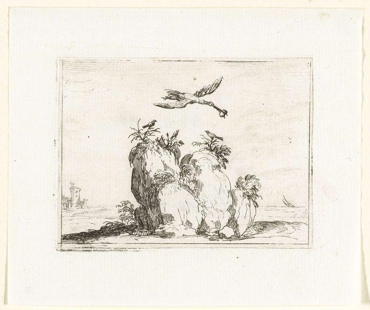 Jacques Callot   Kraanvogel met een steen in de snavel, Jacques Callot, 1621 - 1635   Voorstelling van een kraanvogel met een steen in de snavel, die over een rots vliegt waarop drie kleine vogels zitten. Dit blad is onderdeel van de embleemserie 'Kloosterleven in emblemen'. De tweede staat van deze serie behelst naast een geïllustreerde titelpagina en 26 emblemen nog een titelpagina en een blad met opdracht, beide in boekdruk zonder afbeelding.