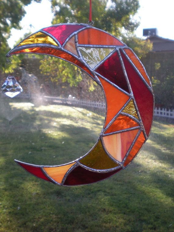 Stained Glass Moon with Prism by DesertGirlGlass on Etsy, $35.00