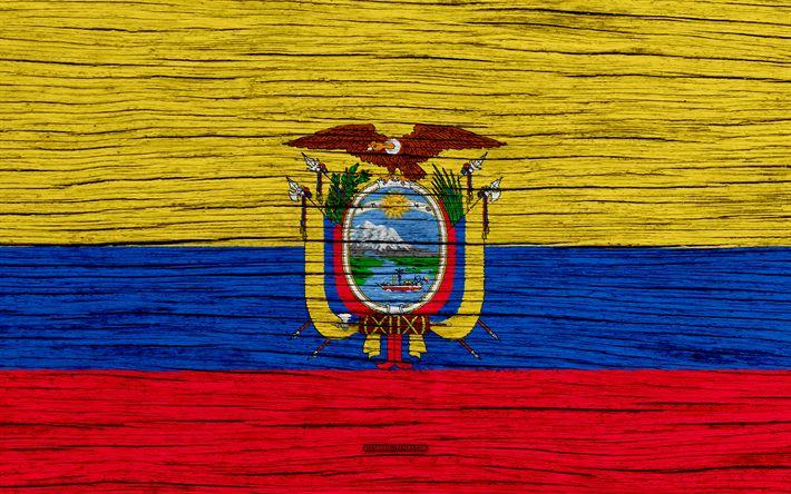 Download wallpapers Flag of Ecuador, 4k, South America, wooden texture, Ecuador flag, national symbols, art, Ecuador