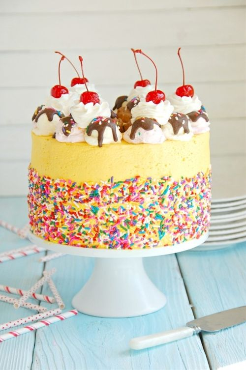 Check out berry covered birthday cake a huge cake - Banana cake decoration ...