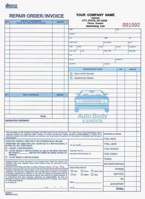 4-Part Auto Body Repair Order/Invoice Carbonless / Free Shipping