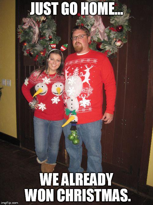 Couples Homemade Ugly Christmas Sweater Funny
