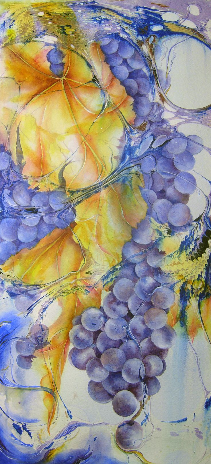 """into the Vat""  Marbled paper, gouache and watercolor ~ Anji Grainger"