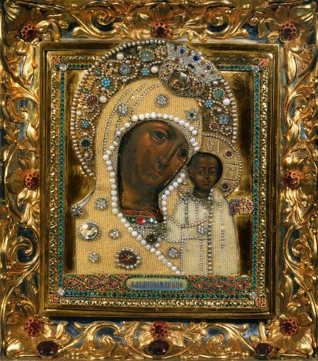 Икона Божией Матери «Казанская» - чудотворный образ.Икона XVII века. Богоявленский кафедральный собор в Елохове, г. Москва
