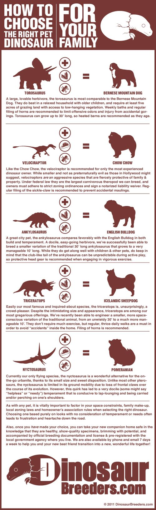 Hmmm, I can't decide between velociraptor and nyctosaurus. Protection for my family, or cuddly indoor flyer?