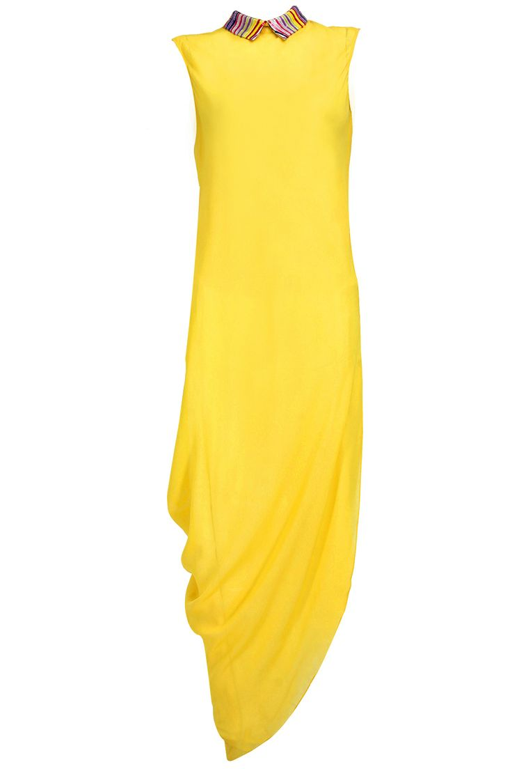 Lemon yellow sequin embroidered drape dress by VIZYON. Shop now exclusively at www.perniaspopupshop.com! #dress #lemon #yellow #sequin #drape #vizyon #contemporary #perniaspopupshop #designer #fashion #style #chic #trendy #clothes #shopnow #happyshopping
